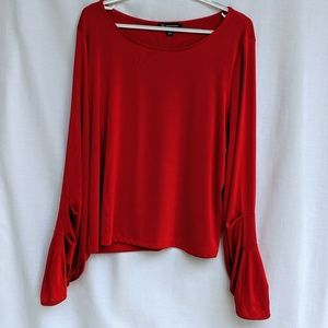 INC Scrunched Cinched Sleeve Red Blouse Size XL